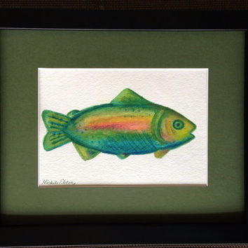 Unframed Watercolored Fish Painting