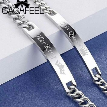 GAGAFEEL Romantic Her King Couple Bracelets His Queen Bracelets Customized Engrave Stainless Steel Lover Bracelet Bangle
