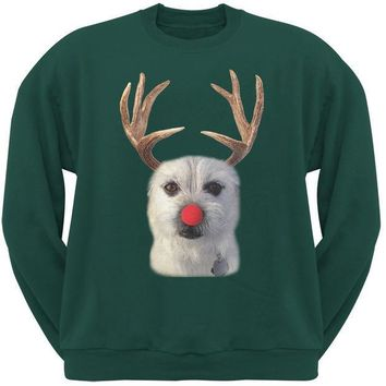 MDIGCY8 Funny Reindeer Dog Ugly Christmas Sweater Forest Green Sweatshirt
