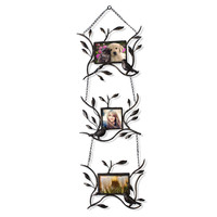 Brown Black Decorative 3-Opening Collage Bronze Iron Metal Wall Hanging Picture Photo Frame