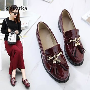 Kjstyrka 2018 women Oxfords Flats Shoes Genuine Leather Female fashion fringe Casual flats heel boat shoes zapatos mujer