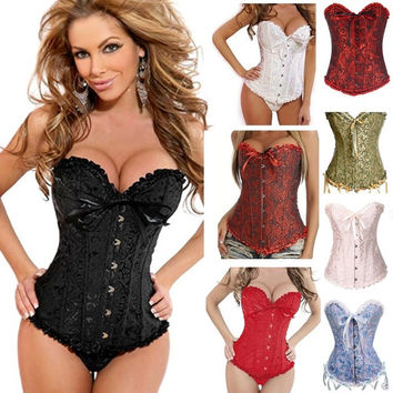 Sexy Lingerie Steel Bustiers Black Satin Embroidered Corset Overbust Corsets+G string PLUS SIZE: S M L XL XXL 3XL 4XL 5XL 6XL = 1958581892