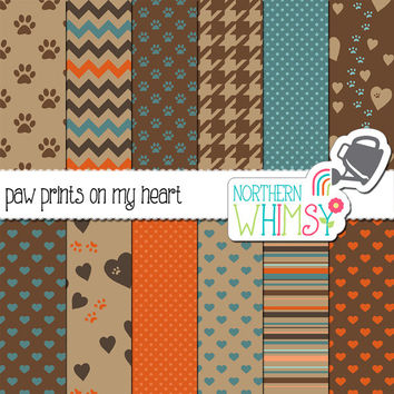 Neutral Pet Pattern Digital Paper Pack – scrapbook papers with paw prints and hearts for your favorite pet stories – instant download –CU OK
