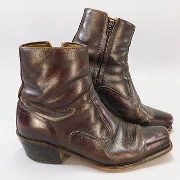 1960's Vintage / Square Toe Boots / Low Boots / Ankle Boots / Zip Boots / Brown Leather Boots / Size 9D / Rock Star Boots / Badass Boots