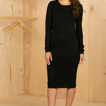 Dita Midi Dress (Black)- FINAL SALE