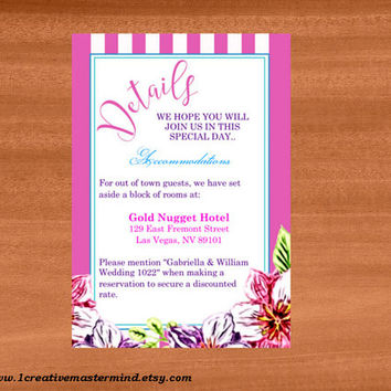 DIY Wedding Template detail card, Instant Download, Editable PDF, Printable, Digital, Floral with Pink and White Stripes #1CM80-1