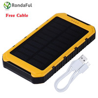 New 8000mAh Solar Charger Phone External Battery Pack Dual USB Power Bank for Iphone 5/5s/6/6s With LED Light Lamp
