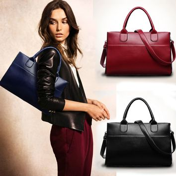 Fashion Women Genuine Leather Shoulder Bag Large Tote Satchel Classical Handbag
