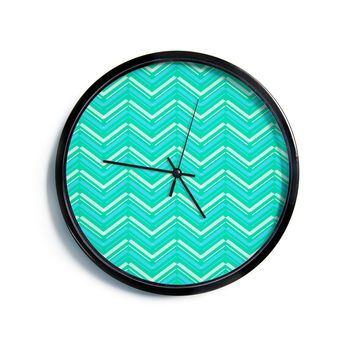 "CarolLynn Tice ""Symetrical"" Teal Turquoise Modern Wall Clock"