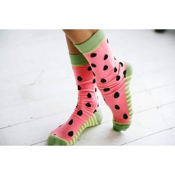 Woven Pear - One in a Melon Socks