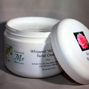 Organic Whipped Non Greasy Facial Cleansing Cream, All Natural Rose Blossom - 8 oz.