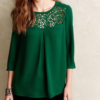 Green Sleeve Cut Out Chiffon Blouse