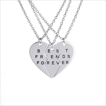"New 3pcs/set ""Best Friends Forever"" BFF Valentine Heart 3 Parts Brother & sisters Best Buds Pendant Necklaces Charm Choker gifts"