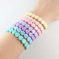 Fairy Kei Style Pastel Heart Stretchy Bracelets 7 Pretty Colors to Choose From