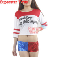 Harajuku Sudaderas Mujer Harley Quinn Suicide Squad T Shirt Shorts Batman Movie Joker 2016 Arkham Game Disfraces Adulto