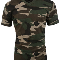 LE3NO Mens Military V Neck Short Sleeve Camo Print T Shirt