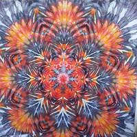 Large tie dye wall hanging tapestry red orange yellow black grey king size giant