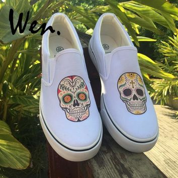 Wen Original White Black Slip On Shoes Design Custom Mexican Skulls Floral Totem Mens Womens Canvas Sneakers Low Flat Plimsolls