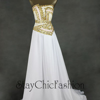 Gold Sequin Beading Top Strapless Long White Evening Dress Sale