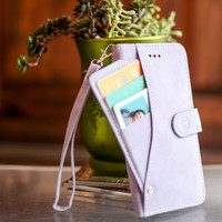 Mobovida Suede Credit Card Slideout Wallet Folio Case for LG G4 - Lavender