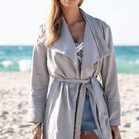 Turn Down Collar  Loose Long Sleeve Jacket With Belt