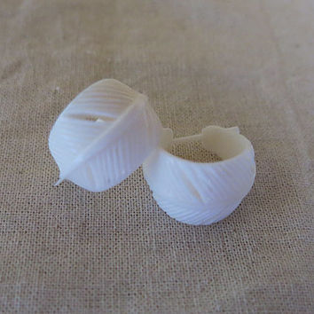 Hand Carved Bone Feather Earrings, Stick Post Bone Earring, Bali Bone Jewelry