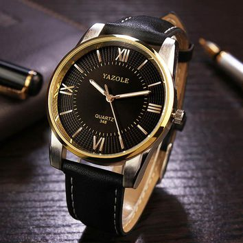 Wal-Joy 2018 Luxury Watch For Men 3D Dial Gold Watches Luminous Pointer Leather Strap Classical Business Watches Waterproof Gift