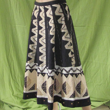 Vintage Napa Valley Skirt, Size 12, Women's! Size Medium, Long Skirt, Summer or Spring Skirt, Native American Style, Hippie, Naturalist.