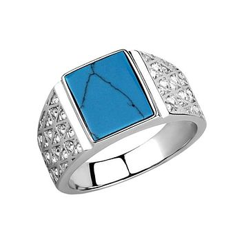 Shining Sea - Men's Stainless Steel Ring With Synthetic Sea Blue Stone And Clear CZs