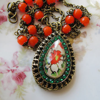 Orange necklace - colorful necklace - handmade - boho necklace - heart necklace - vintage style - Europe