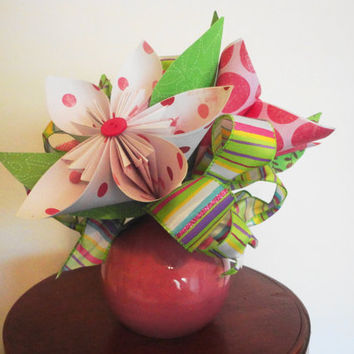 Origami Flower Arrangement, Hostess Gift, Paper Flowers, Handcrafted Flowers,  Pink Flowers, Birthday Gift, Room Decor