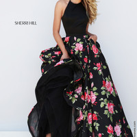 Sherri Hill 50333 Black Floral Print Halter Prom Dress