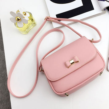 LEFTSIDE Women Bag  Bow Pink Black Handbag PU Leather Women's Shoulder Crossbody Bags Ladies Small Handbags Purse Bags Bolso