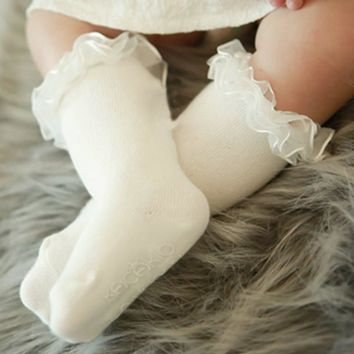 High Quality Kids Baby Toddler Girls Princess Soft Cotton Lace Knee Length Socks Y88