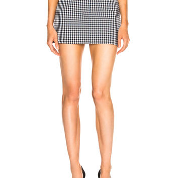 Tibi Gingham Suiting Mini Trouser Skirt in Gingham Multi | FWRD