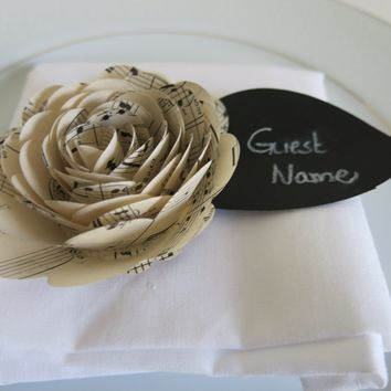 Set of 6 Music Rose Place Cards, Unique Dinner Seating Arrangements, Sheet Music Paper Flowers