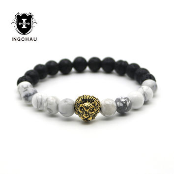 Tibetan Mandala Buddha Gold Plated Lion Head Bracelet Amulet Rosary Bracelets Black Lava Stone Yoga Mala For Men Women HS-2