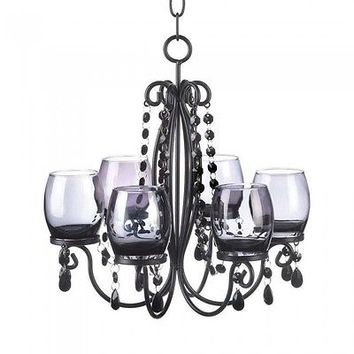 Midnight Elegance Beaded Candle Chandelier