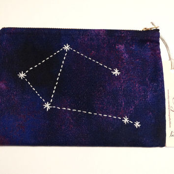 Embroidered Libra Constellation Small Cosmetic Bag