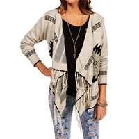 Gray Fringe Tribal Sweater