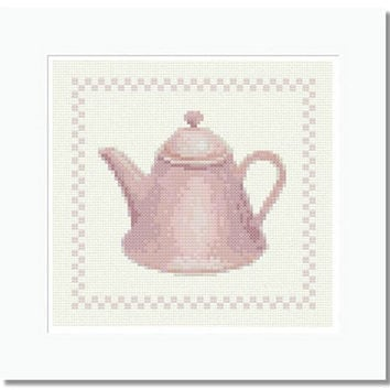 Pink Teapot - PDF Cross Stitch Pattern - INSTANT DOWNLOAD