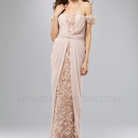 Blush Floral & Gathered Chiffon Off The Shoulder Prom Dress - Unique Vintage - Cocktail, Evening  Pinup Dresses