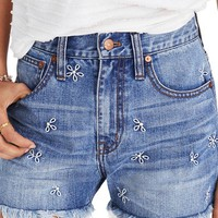 Madewell Perfect Daisy Embroidered High Waist Denim Shorts (Aberdeen Wash) | Nordstrom