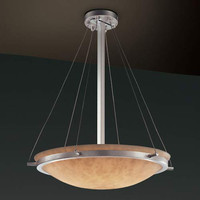 Justice Design Group CLD-9692-35-NCKL-LED-5000 24-Inch Round 5000 Lumen LED Bowl Pendant with Ring