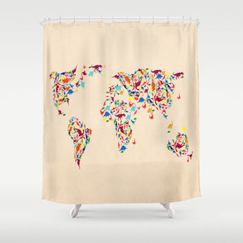 map dinosaur Shower Curtain by Mark Ashkenazi | Society6