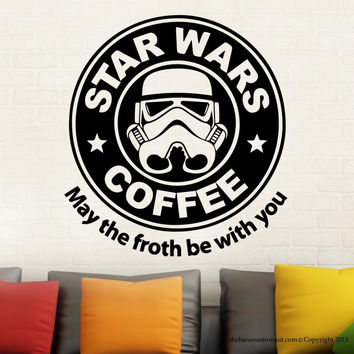 Removable Star Wars Coffee Parody Starbucks Wall Decal