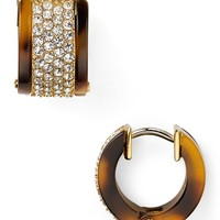 Michael Kors Tortoise Shell Pave Huggie Earrings | Bloomingdale's