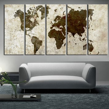 large World Map Canvas wall art, Large wall Art, vintage World Map canvas print 5 panels, modern wall decor art print, extra large wall art