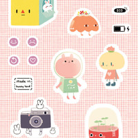 A5 vinyl 'Just robot' sticker sheet PINK