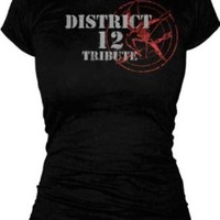 The Hunger Games District 12 Tribute Katniss Black Juniors T-shirt Tee